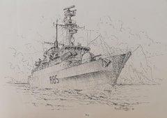 War Ship Painting Ink by David Hawker '80