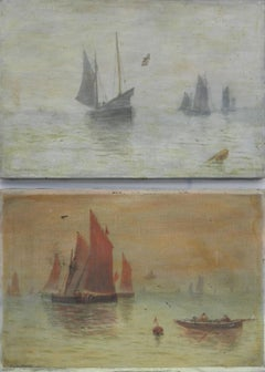 Pair Ships and the Sea by J Whitmore Oil Painting c1907