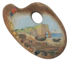 Boats Painted on Easel 20th Century Folk Art