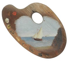 Boat Painted on Easel 20th Century Folk Art