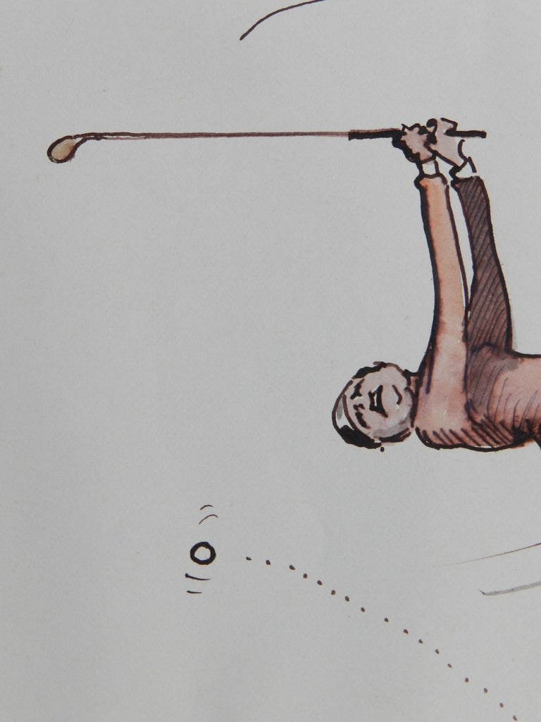 Caricature of Golfer a Novelist by Peter Hobbs Golf Original Painting c1950 6