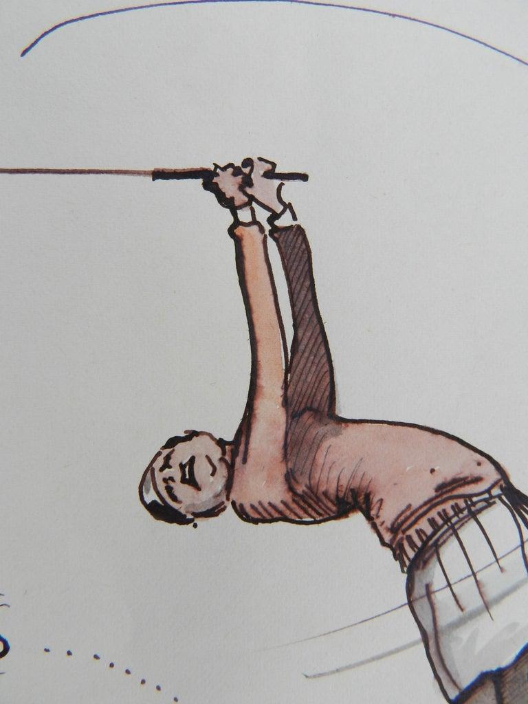 Caricature of Golfer a Novelist by Peter Hobbs Golf Original Painting c1950 1