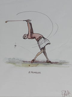 Caricature of Golfer a Novelist by Peter Hobbs Golf Original Painting c1950