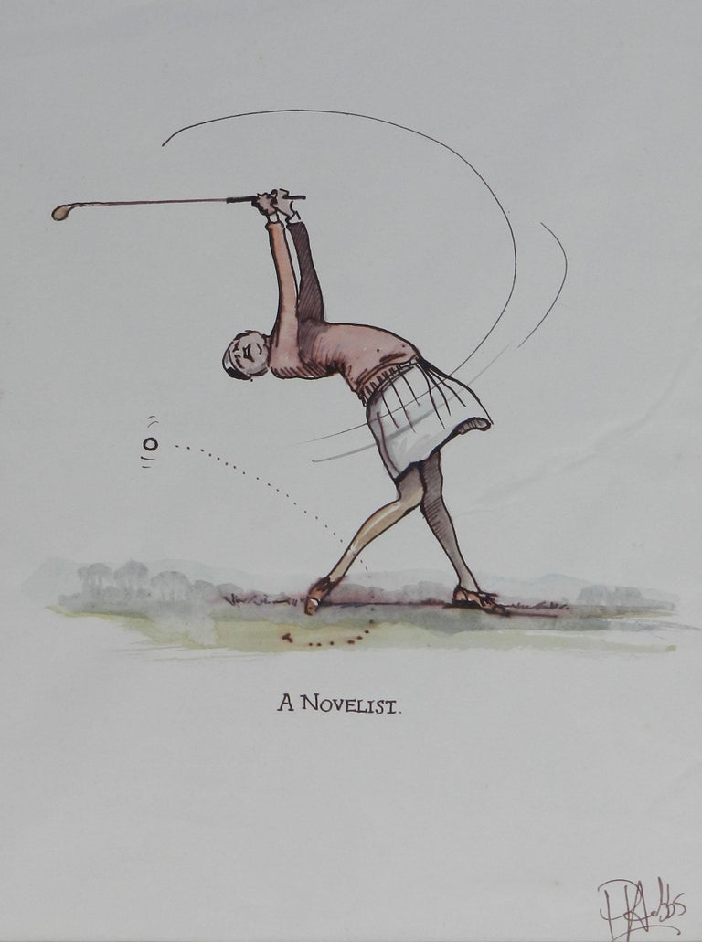 Amusing original sketch caricature of a Golfer  'A Novelist' From a series of golf caricatures by the UK artist Peter Hobbs, 1930-1994. Peter Hobbs was a professional sports caricaturist Pen and ink / watercolour painting on artists sketch paper