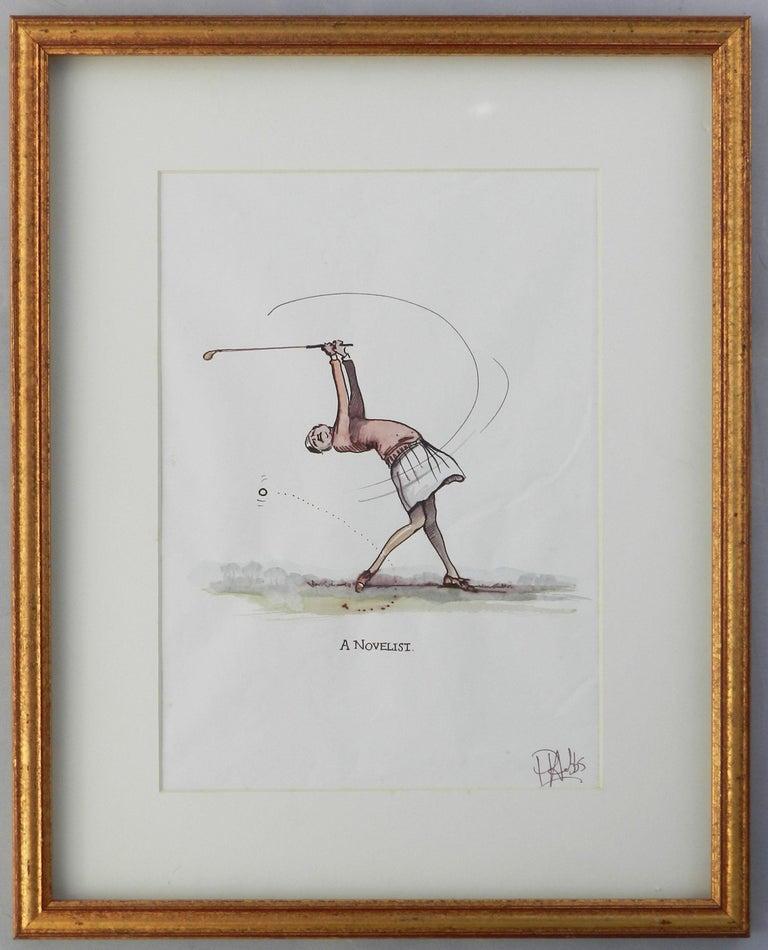 Caricature of Golfer a Novelist by Peter Hobbs Golf Original Painting c1950 3