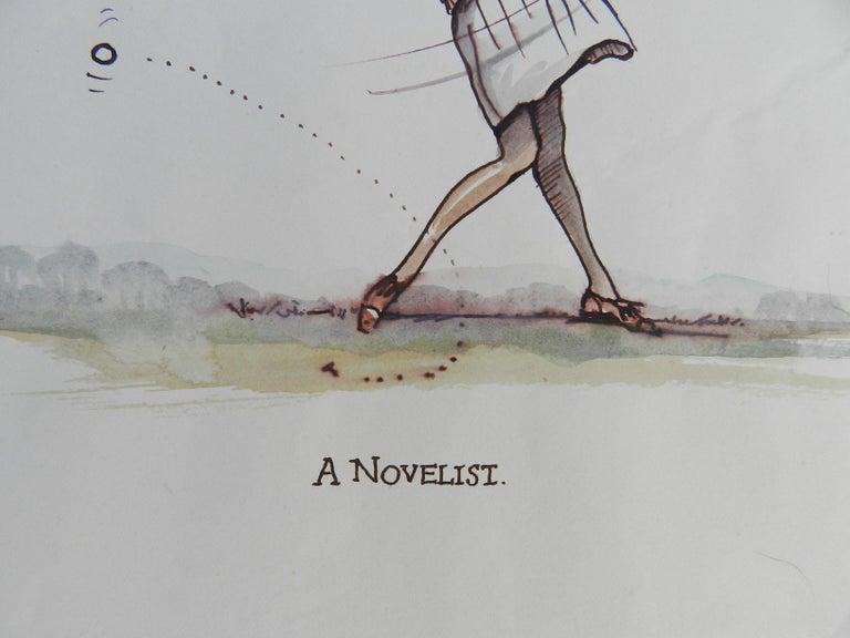 Caricature of Golfer a Novelist by Peter Hobbs Golf Original Painting c1950 4