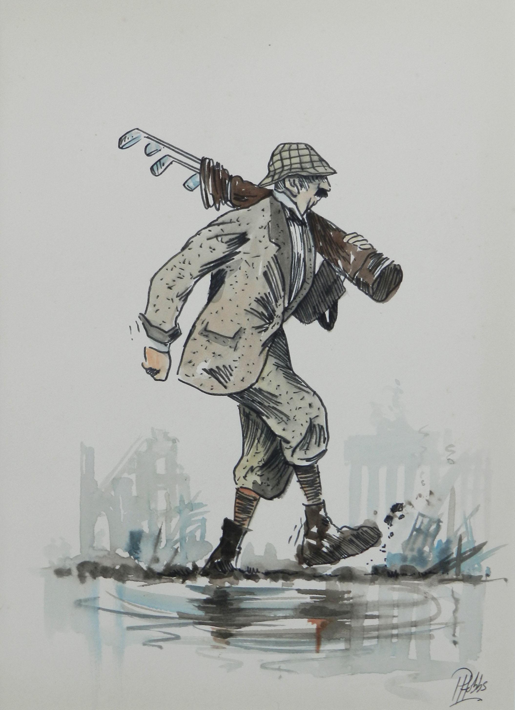 Caricature of Golfer by Peter Hobbs Water Bunker Golf Original Painting c1950