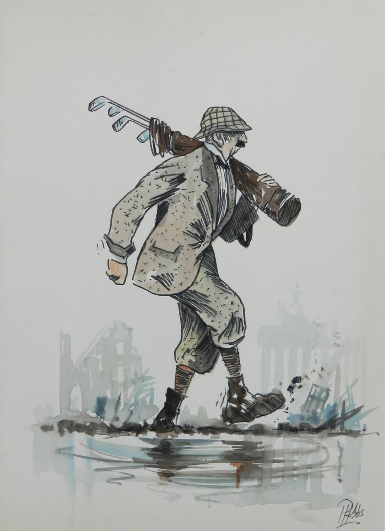 Amusing original sketch caricature of a Golfer  c1950 Tramping through the water bunker.... Delivered in a frame measuring 37.5cm 14.76ins   x  29cm 5.8ins  x  1.5cm  0.59ins From a series of golf caricatures by the UK artist Peter Hobbs,
