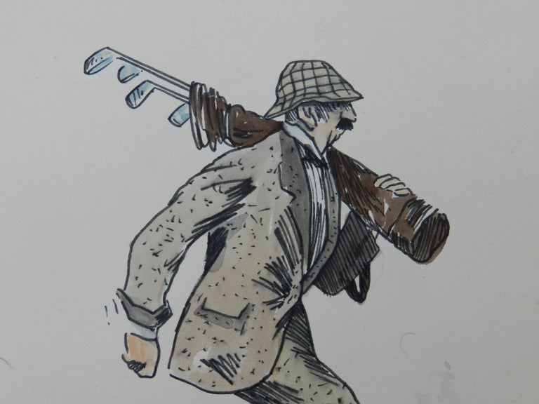 Caricature of Golfer by Peter Hobbs Water Bunker Golf Original Painting c1950 For Sale 2