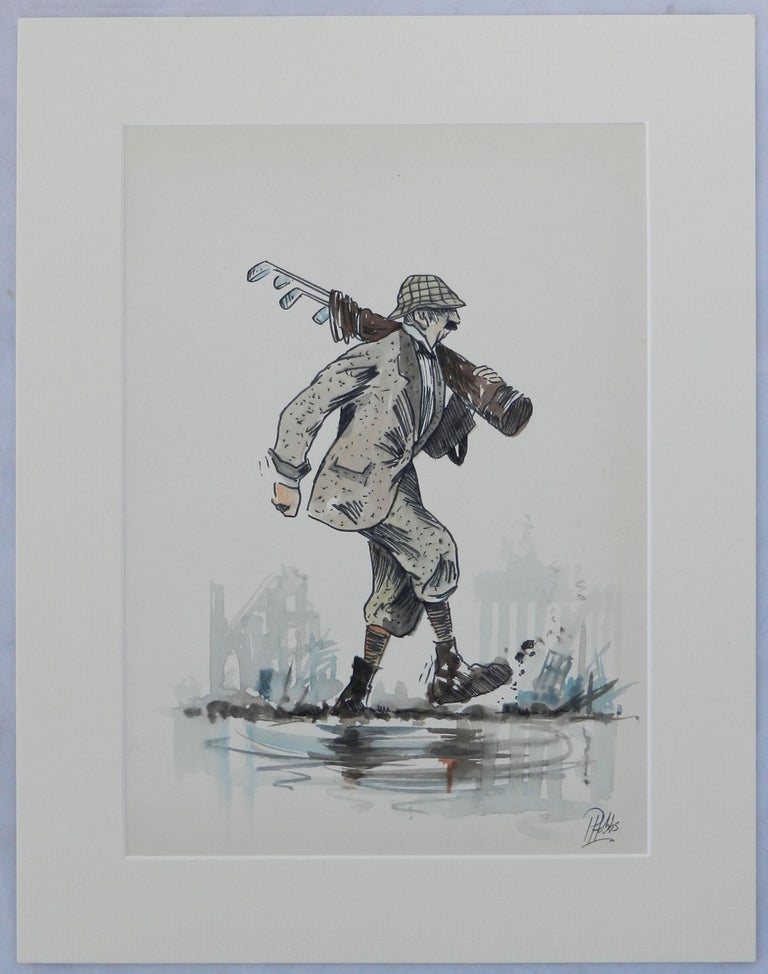 Caricature of Golfer by Peter Hobbs Water Bunker Golf Original Painting c1950 For Sale 7
