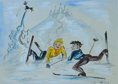 Skiers Amusing Caricature Artist Signed Watercolor Mid Century c1952