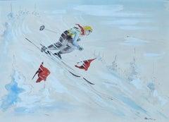 Skier Original Artist Signed Watercolor Mid Century c1952