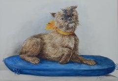 Dog Portrait Naive Watercolor Painting Terrier Folk Art J Mercie Mid Century