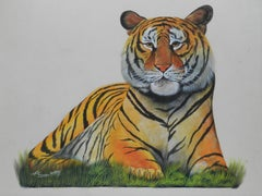 Tiger Watercolor Painting Signed by Artist 20th Century Asian