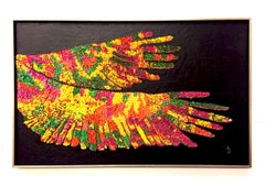Paper Wings, abstract and colorful, recycled material on cement canvas