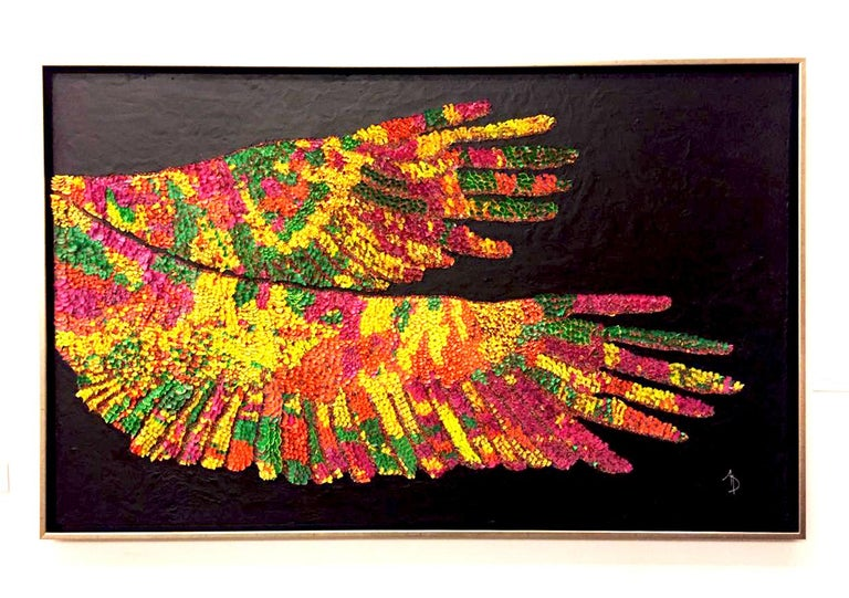 Paper Wings, abstract and colorful, recycled material on cement canvas  - Mixed Media Art by Arozarena De La Fuente