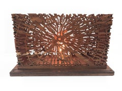 Dendrocronology. Lovely Wooden Warm Light Base Lamp