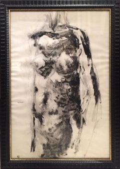 'Nude' 50's Drawing by Vittorio Tavernari 'Woman's Torso' Black White Paper