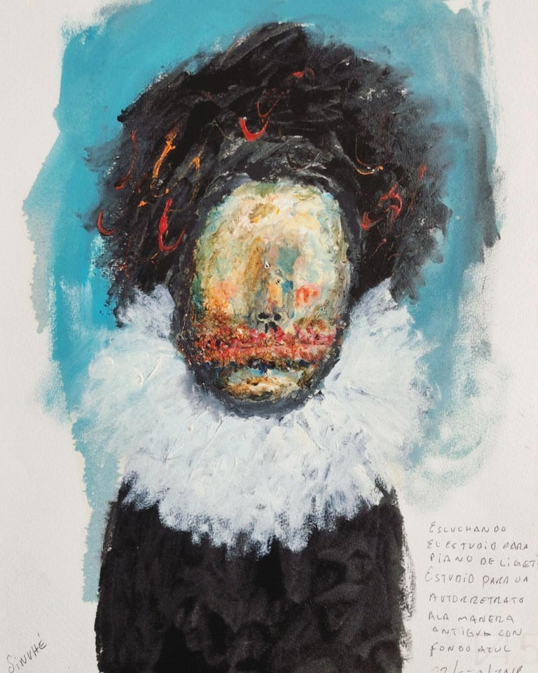 Great Piece by Mexican Painter Sinuhé Villegas - Self Portrait - Painting by Sinuhé Villegas