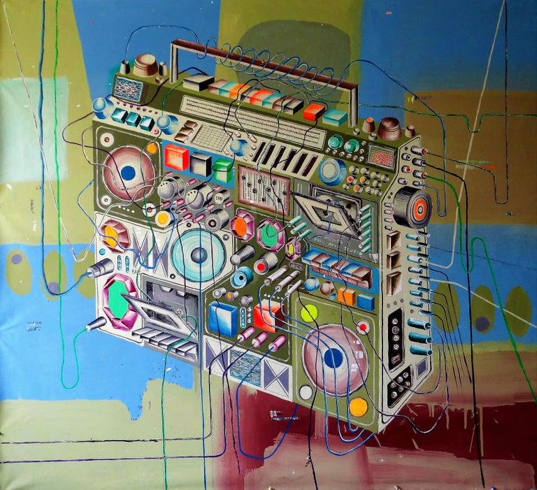 Cisco Jiménez Figurative Painting - Radiograbadora