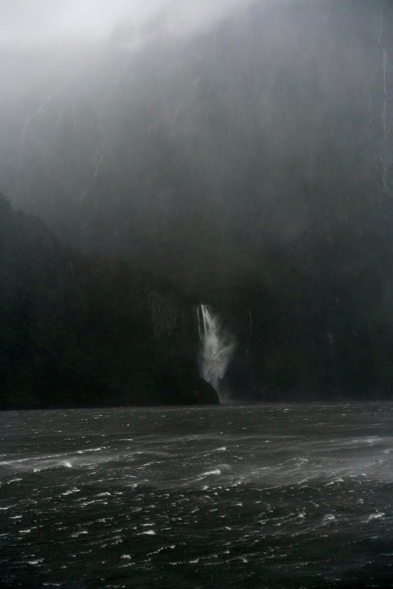Jem Southam Landscape Photograph - A Sudden Squall, The Stirling Falls, Milford Sound, New Zealand, Autumn 2018