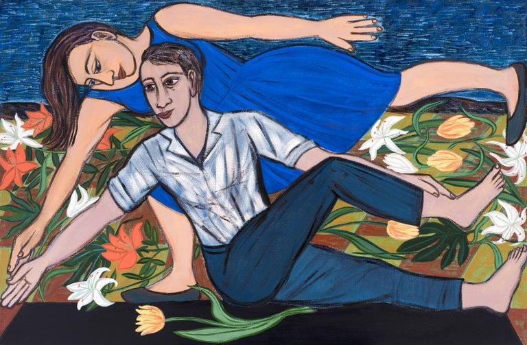 Eileen Cooper Figurative Painting - Blue Duet, 2016