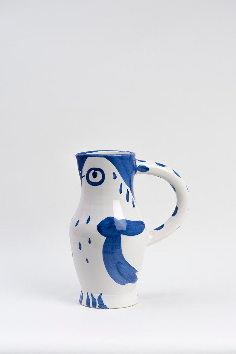 Turned pitcher (A.R. 253) Inscribed 'Edition Picasso' and 'Madoura' and stamped 'Edition Picasso / Madoura' on base White earthenware clay, oxide decoration on white enamel Executed in an edition of 500  With subjects varying from Greek mythological