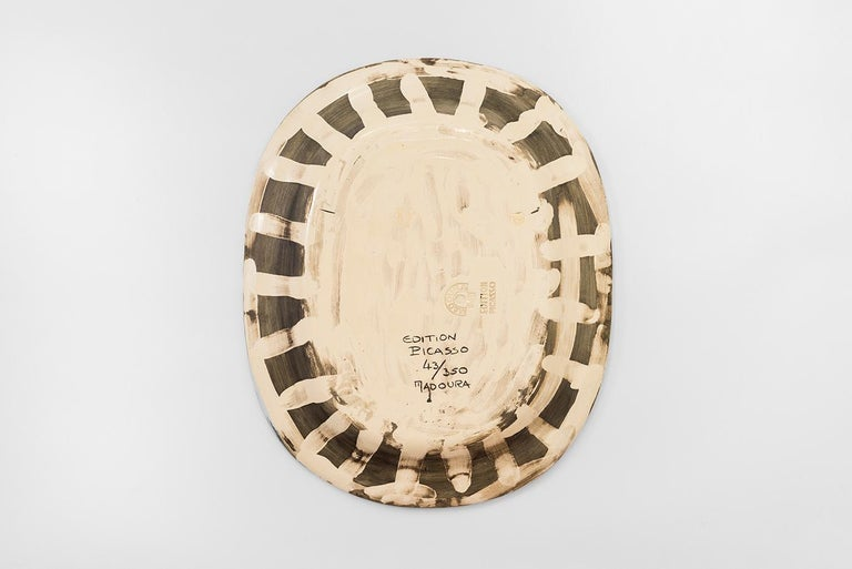 Rectangular dish (A.R. 287) Inscribed with 'Edition Picasso', 'Madoura', numbered 43/350 and stamped 'Madoura Plain Feu / Edition Picasso' on reverse White earthenware clay, knife engraved decoration under brushed glaze White, ivory Width: 12 1/2