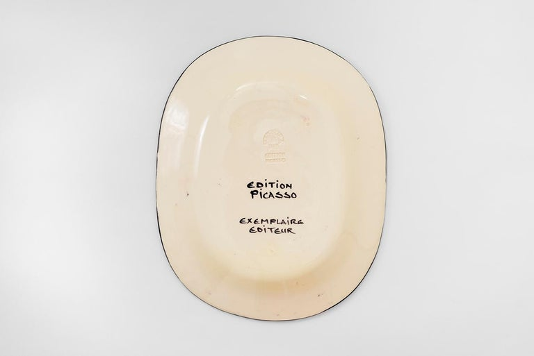 Round ceramic plate (A.R. 476) Inscribed with title and 'Edition Picasso' and 'Madoura' and numbered 115/500 on reverse White earthenware clay, decoration in engobes and enamel under glaze Executed in an edition of 500  With subjects varying from