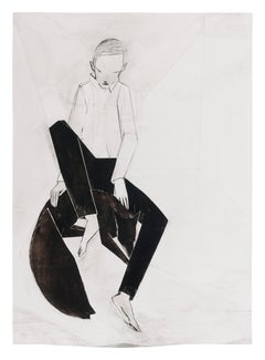 Sitting with fox (small, II), 2021 - Iris Schomaker (Watercolour)