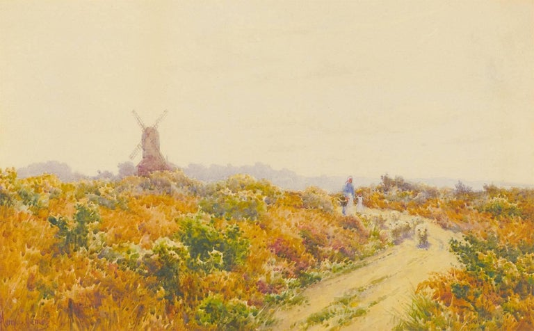 Harry E. James - Early 20th Century English Watercolour, Waltham Common, Lincoln - Victorian Painting by Harry E. James