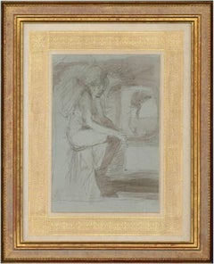 Bernard Dunstan (1920-2017) NEAC PRWA RA - 1991 Charcoal Drawing, Contemplation