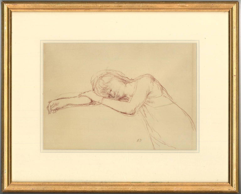 Bernard Dunstan RA RWA (1920-2017) Signed & Framed English Pastel, Woman Resting - Art by Bernard Dunstan