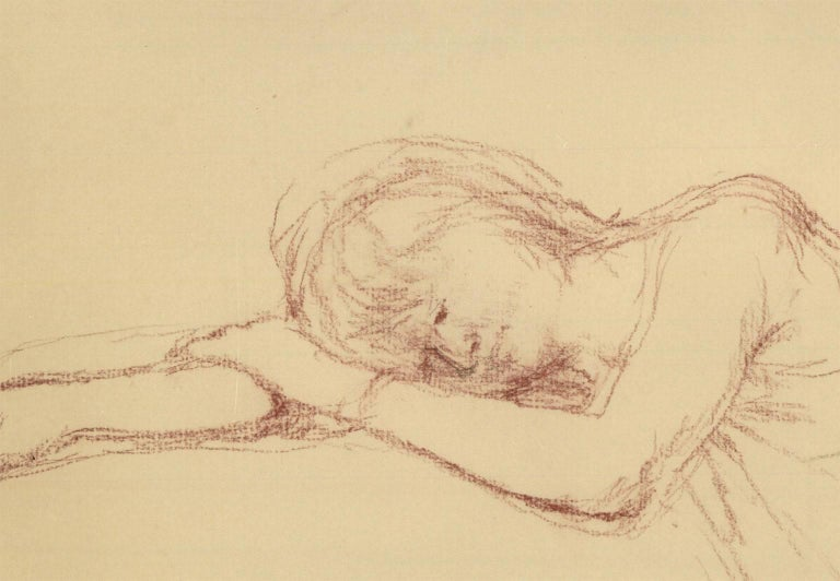 Bernard Dunstan RA RWA (1920-2017) Signed & Framed English Pastel, Woman Resting - Orange Figurative Art by Bernard Dunstan