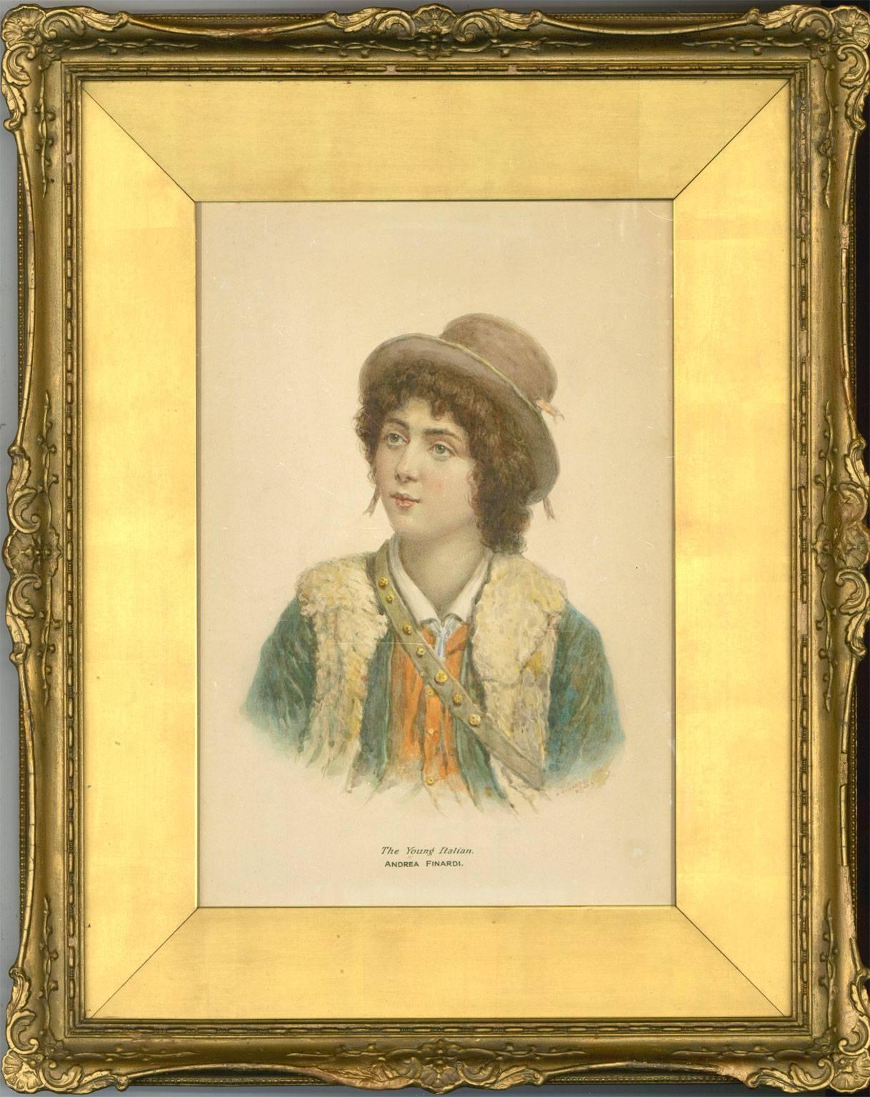 Andrea Finardi - Gilt Framed 19th Century Italian Watercolour, The Young Italian