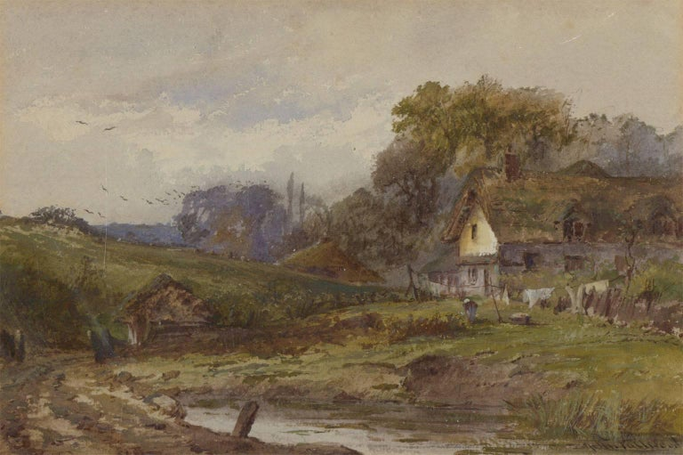 John Fulwood (1854-1931) - Signed English Watercolour, Cottage in a Landscape - Victorian Painting by John Fulwood