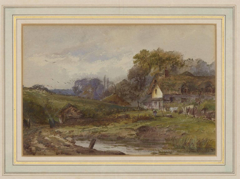 John Fulwood (1854-1931) - Signed English Watercolour, Cottage in a Landscape - Beige Landscape Painting by John Fulwood