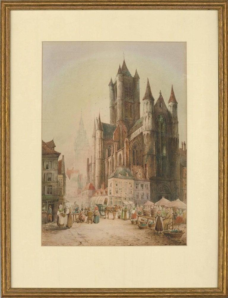 Samuel Gillespie Prout (1822-1911) - Watercolour, Saint Nicholas' Church, Ghent - Art by Samuel Gillespie Prout