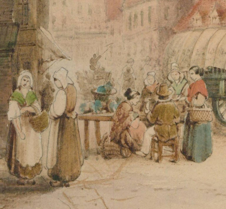 Samuel Gillespie Prout (1822-1911) - Watercolour, Saint Nicholas' Church, Ghent - Beige Figurative Art by Samuel Gillespie Prout
