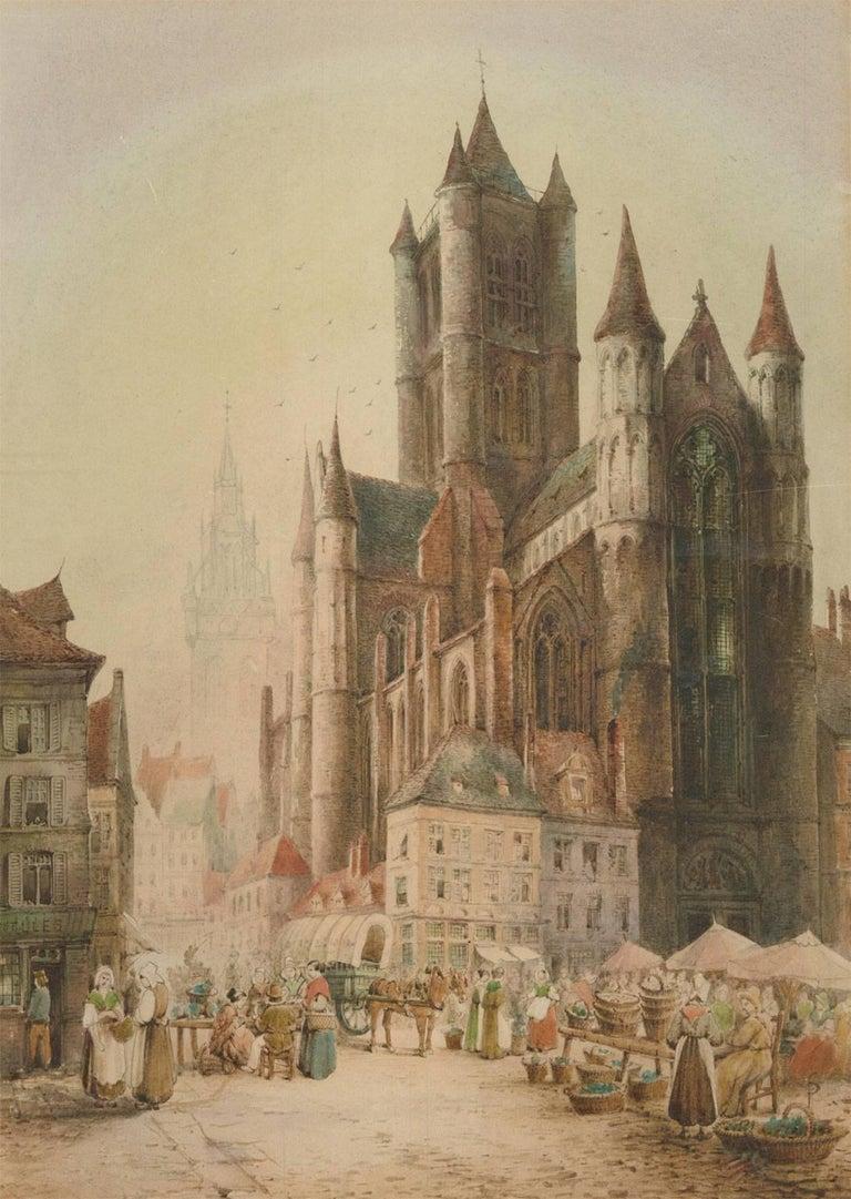 Samuel Gillespie Prout (1822-1911) - Watercolour, Saint Nicholas' Church, Ghent - Victorian Art by Samuel Gillespie Prout