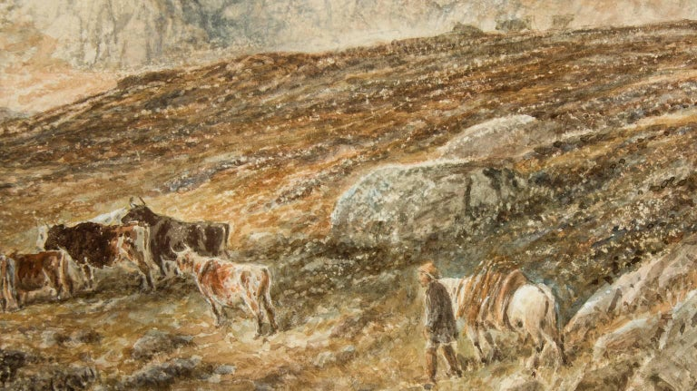 An impressive 19th century English School watercolour, attributed to Alfred H. Green (fl. 1844-1878), with a monogram to the lower right which fits other monograms on record for this artist. The painting depicts a shepherd with his cattle in the