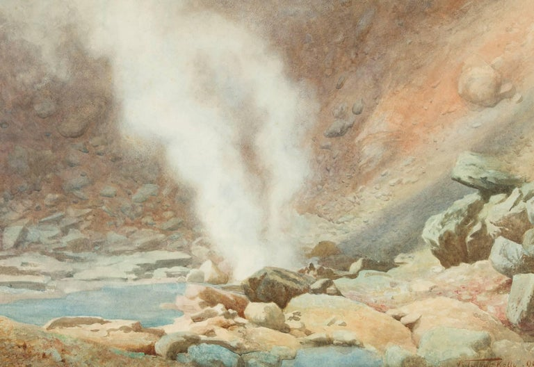 Robert George Talbot Kelly RI, RBA (1861-1934) - 1890 Watercolour, The Geyser For Sale 1