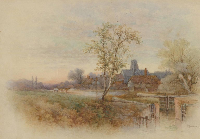 Stephen James Bowers (fl.1874-1892) - Two English Watercolours, Rural Landscapes For Sale 1