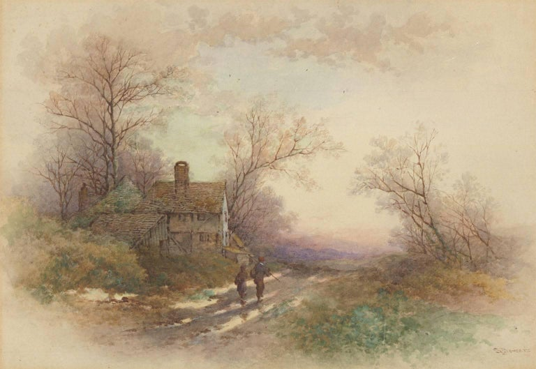 Stephen James Bowers (fl.1874-1892) - Two English Watercolours, Rural Landscapes - Beige Figurative Art by Stephen James Bowers