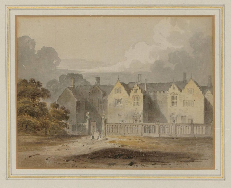 A very finely painted mid 19th century English watercolour depicting figures before a stately home, excellently presented in a washline mount and modern gilt frame. We have attributed this watercolour to John Chessell Buckler through comparisons