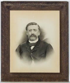 Framed English 1906 Graphite Drawing - High Realism Portrait of a Man