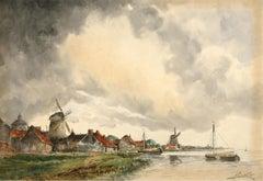 Norris Fowler Willatt - Pair of Dutch Watercolours, Sciedam from the River
