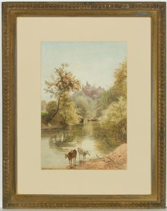 Basil Holmes - 19th Century English Watercolour, Cattle Watering in a Landscape