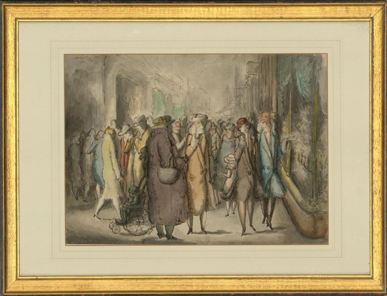 Harold Hope Read (1881-1959) - Framed Watercolour, A Busy Shopping Street - Art by Harold Hope Read