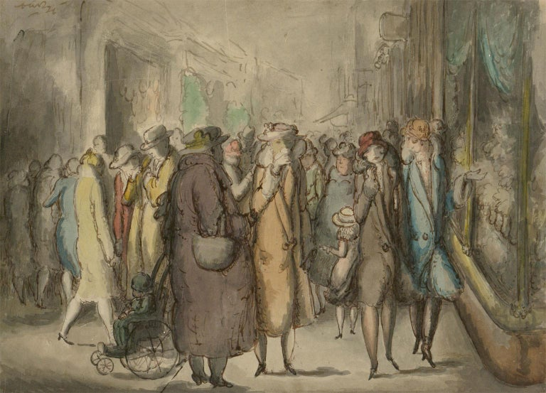 Harold Hope Read (1881-1959) - Framed Watercolour, A Busy Shopping Street - Impressionist Art by Harold Hope Read